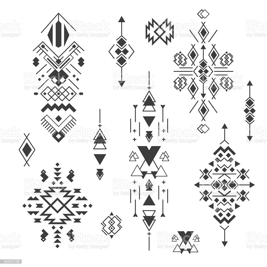 Vector tribal elements, ethnic collection, aztec stile isolated on white vector art illustration