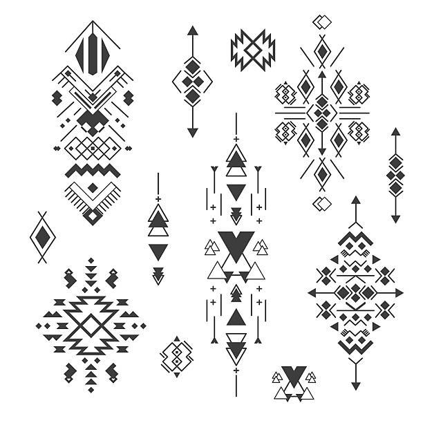 vector tribal elements, ethnic collection, aztec stile isolated on white - bohemian fashion stock illustrations, clip art, cartoons, & icons