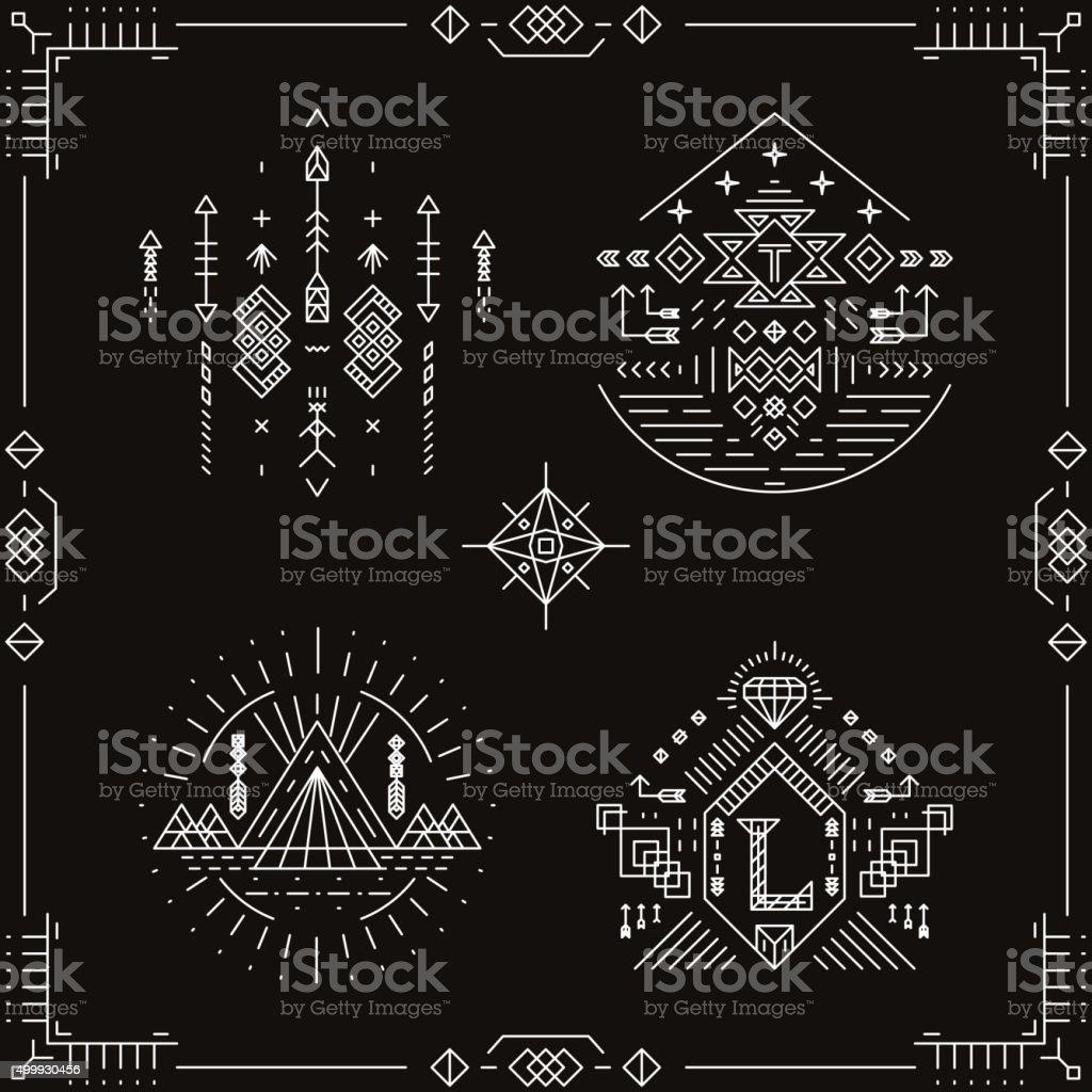 Vector elementos étnico tribal - ilustración de arte vectorial