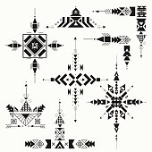 Vector Tribal ethnic ornament. Aztec decor elements . Tribal elements design isolated on a white background. Flat decor elements. Perfect for your design, banners, posters, cards, backgrounds.