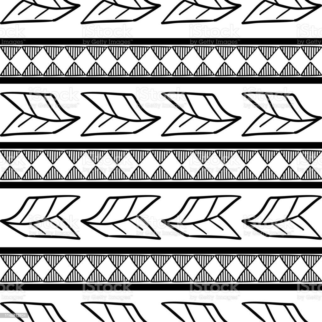 Motif Tribal Vectoriel Avec Noir Et Blanc Dessin Plume Et