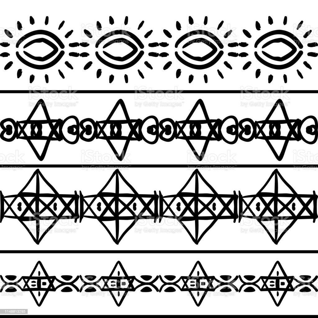Vetores De Vector O Teste Padrão Tribal Com Desenho Do