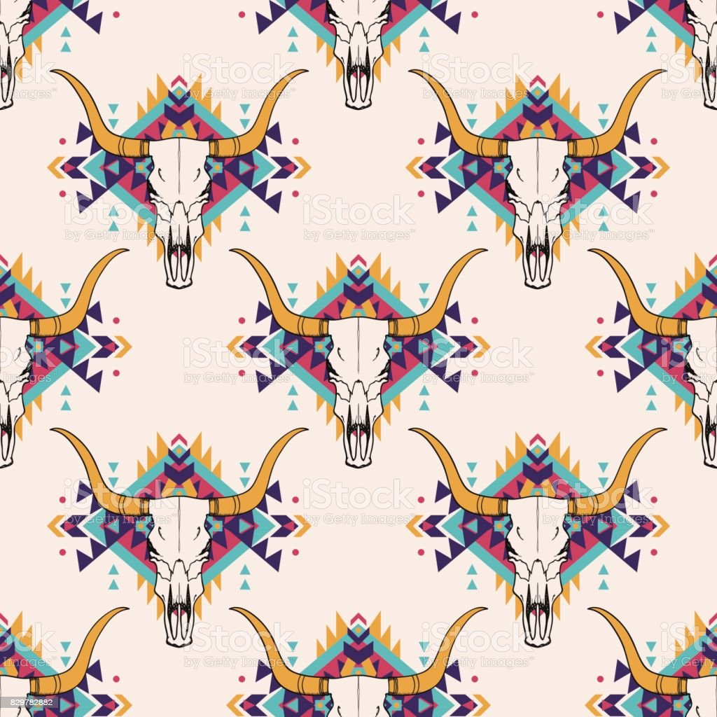 Vector tribal seamless pattern with bull skull and decorative ethnic ornament. Boho style. American indian motifs. vector art illustration