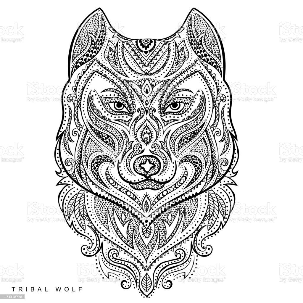 Ilustración de Vector Estilo Lobo Totem Tatuaje Tribal y más banco ...