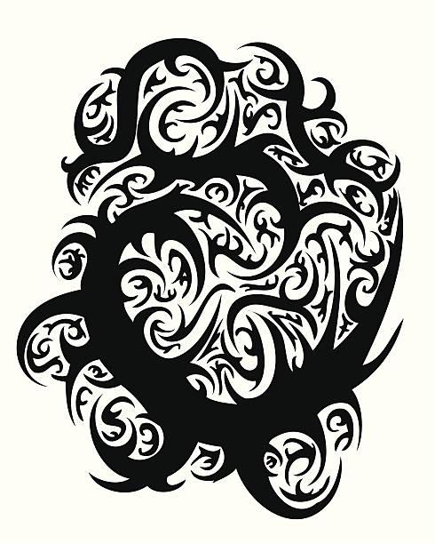 ilustrações, clipart, desenhos animados e ícones de tatuagem tribal vector design thorn - fontes de tatuagem