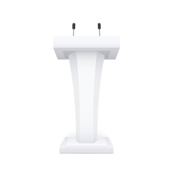 vector tribune podium. sprechständer mit mikrofon auf weißem hintergrund isoliert. - standlautsprecher stock-grafiken, -clipart, -cartoons und -symbole