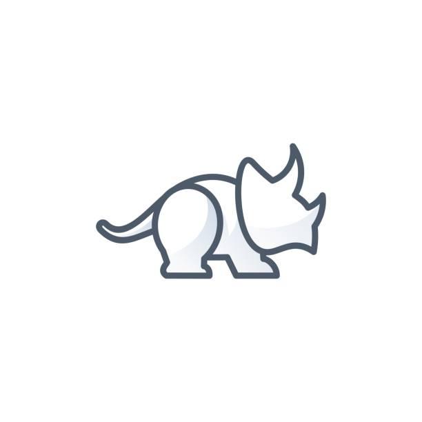 Vector Triceratops Illustration Line Art. Vector Triceratops Illustration Line Art. ancient civilization stock illustrations
