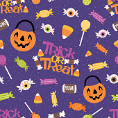 Vector Trick or Treat Candy Seamless Pattern. Surface Pattern Design perfect for fabric, scrapbooking, Halloween, kids, and home décor projects.