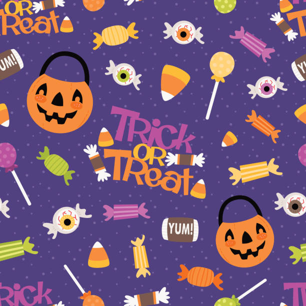 vector trick or treat candy seamless pattern background - halloween candy stock illustrations