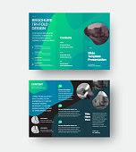 Vector trifold brochure with presentation of company information, business concept on black background. Leflet template with green, blue abstract design, illustration. Open booklet for advertising.Set