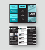 Vector trifold template, brochure cover with realistic shadows on black background. Booklet with turquoise, white design elements, business letterhead. Leflet concept in corporate style.Front,back set