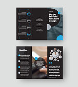 Vector trifold template with blue, gray round design elements on black background, creative brochure with realistic shadows for business. Leflet layout, corporate brochure. Open standard set of covers