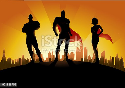 A silhouette style illustration of a team of superheroes on top of a hill with sunset and city skyline in the background.