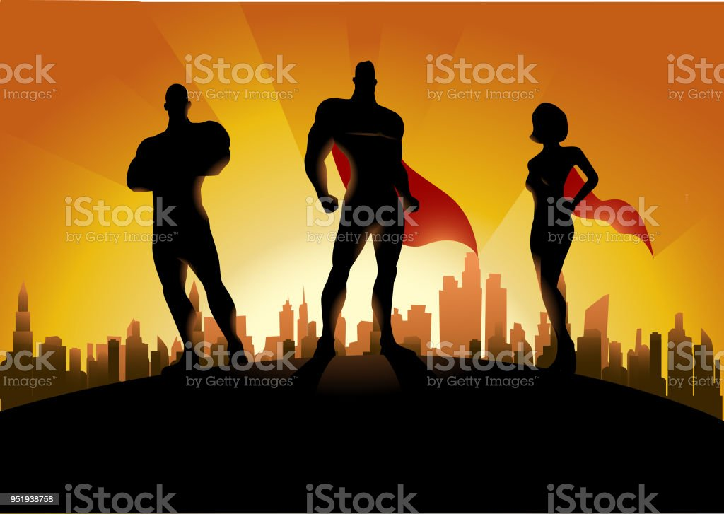 Vector Trio Superhero Team Silhouette with City skyline in the Background vector art illustration