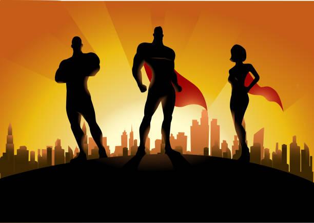 stockillustraties, clipart, cartoons en iconen met vector trio superheld team silhouet met de skyline van de stad op de achtergrond - drie personen