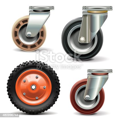 Vector different wheel for trolley isolated on white background