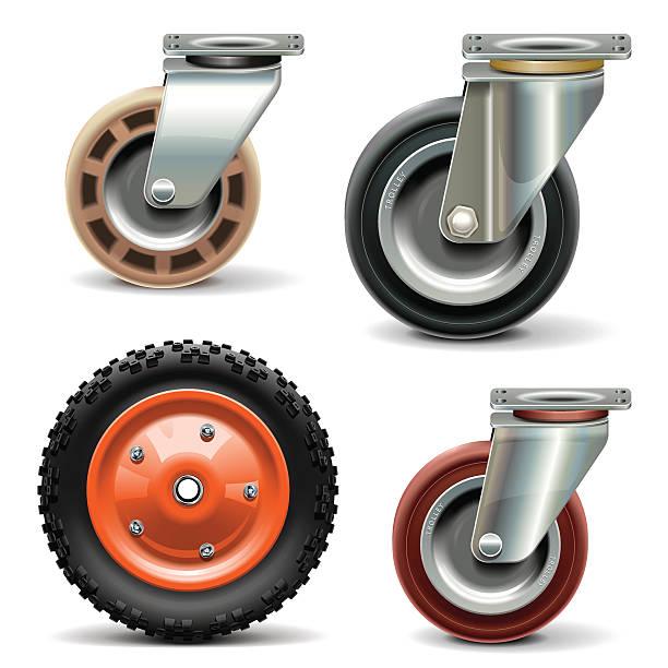 wektor wózek koła - wózek transportowy stock illustrations