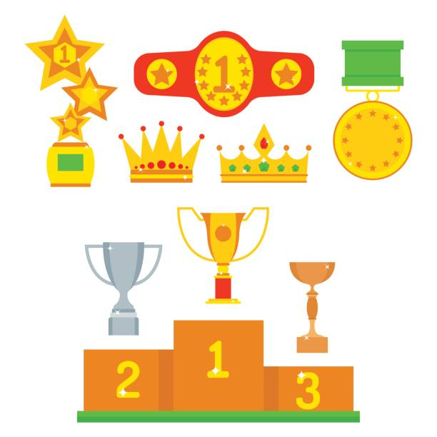 Vector Trophy Champion Cup Flat Icon Winner Gold Award And Victory Prize Sport Success Best Win