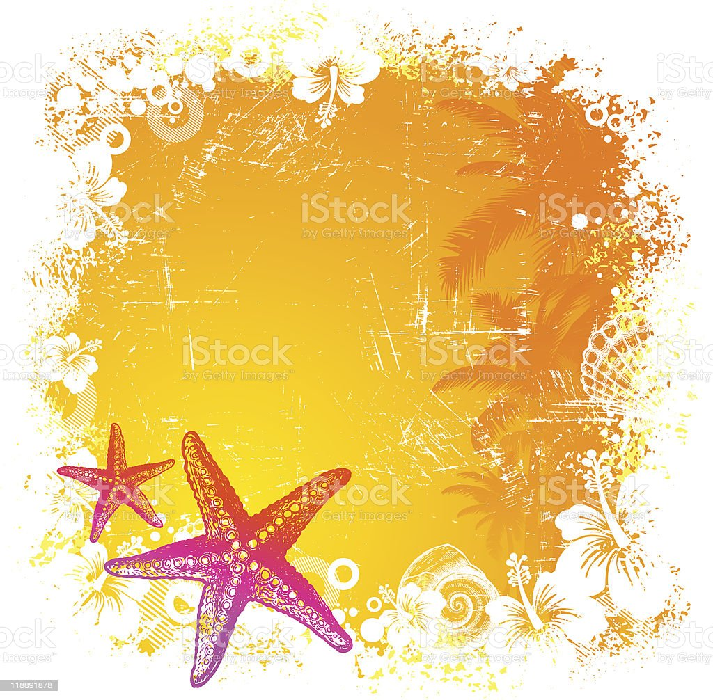 Vector tropical background with hand drawn starfishes royalty-free stock vector art