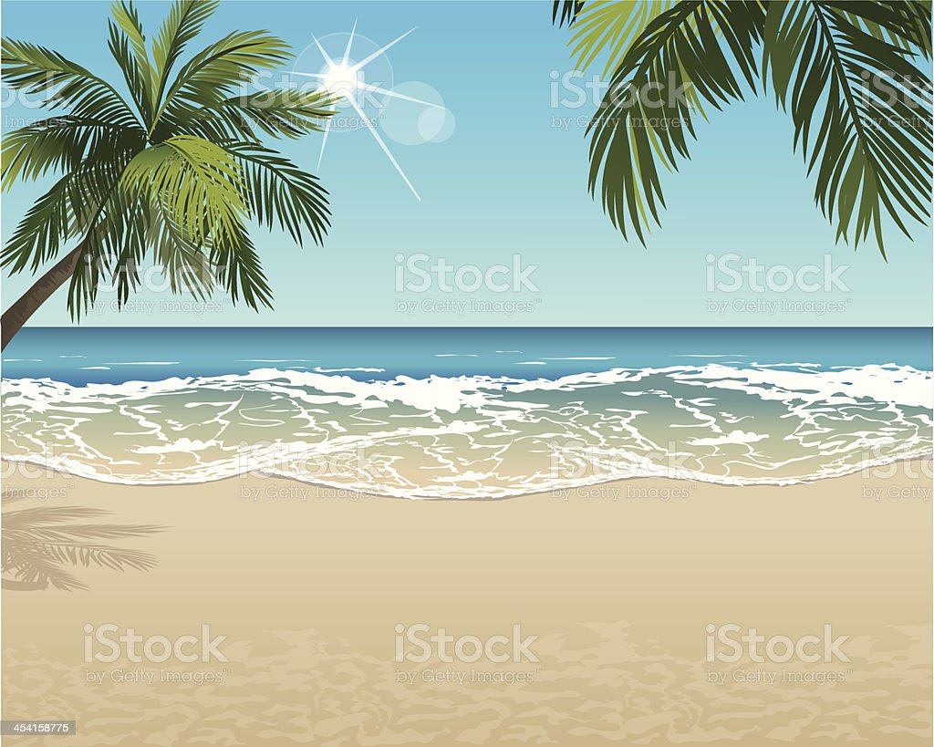 Vector tropical beach with copy space vector art illustration