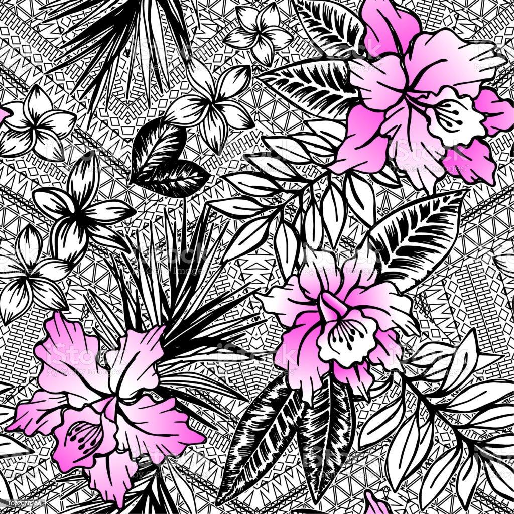 Ilustración De Vectores Tropicales Blanco Y Negro Flores Tropicales