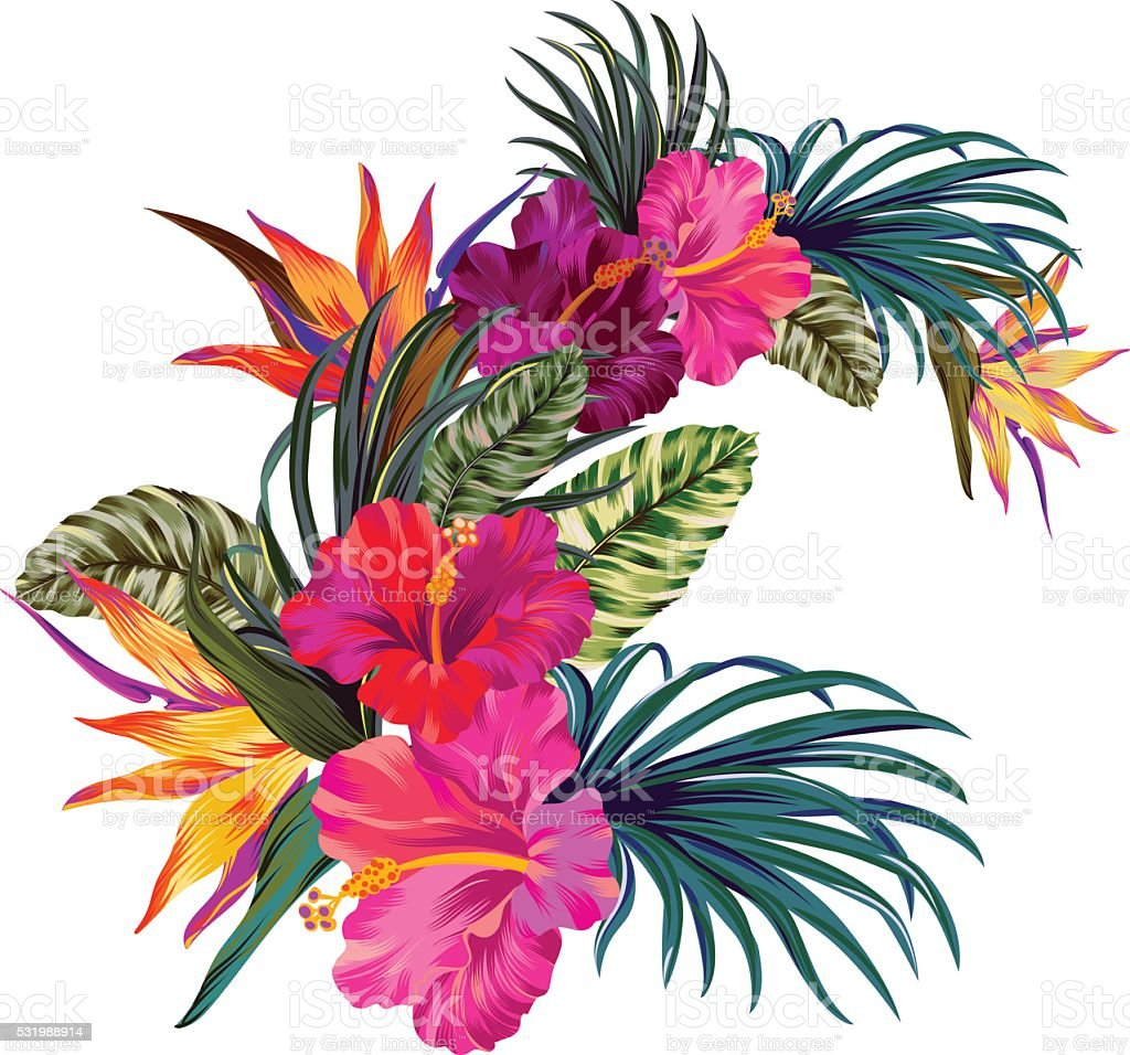 royalty free tropical flower clip art vector images illustrations rh istockphoto com Tropical Leaves Clip Art tropical flower images clipart