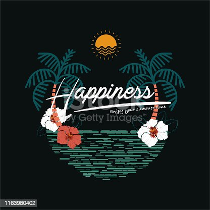 Vector tropical elements. Summer beach plam trees, sun, hibiscus flowers, and line wave in illustrations .Design For t-shirt , fashion,fabric,web,wallpaper,wrapping,and all prints on black