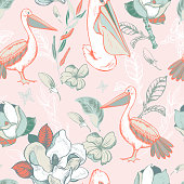 Vector tropical floral seamless pattern