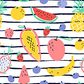 Vector tropical fruit background with durian, pineapple, mango, watermelon, dragon fruit, Pitaya, banana, papaya. Summer exotic fruit seamless pattern on stripes