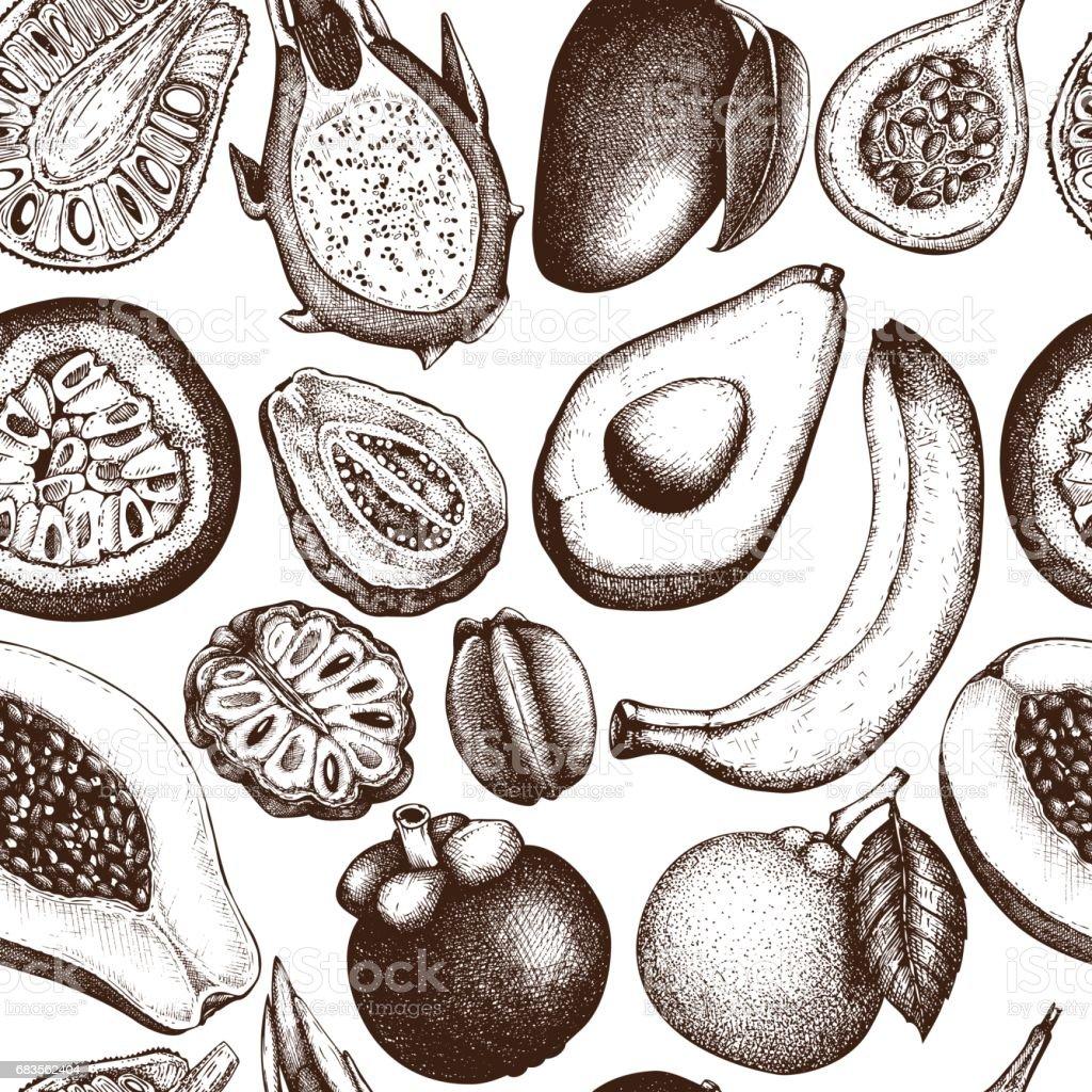 Vector tropical fruits pattern vector art illustration