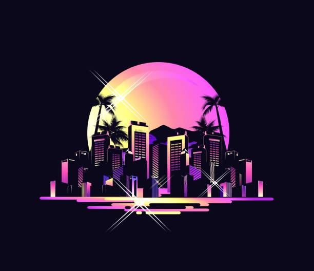 vector tropical landscape Exotic Hawaiian landscape southern city, on the ocean with palm trees, houses otlyami, retro style, vector illustration on black background miami stock illustrations
