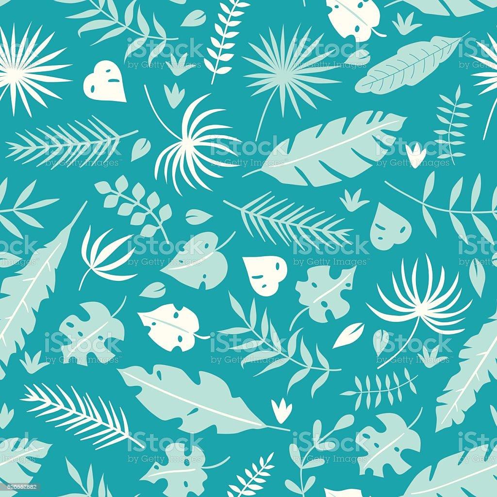 Vector tropical leaves seamless pattern vector art illustration