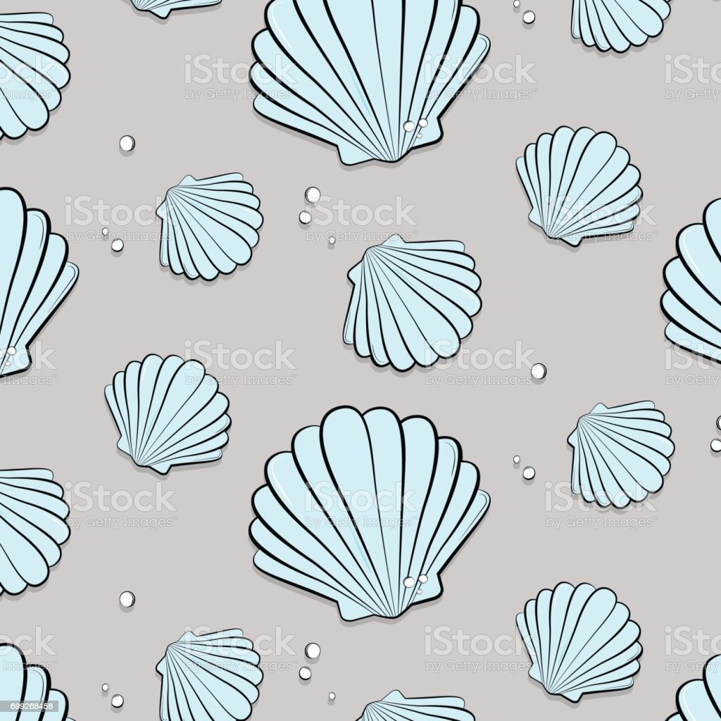 Vector tropical ocean print with shells. Seashells with jewels pattern. Tropical summer nature gem background. Fashion vacation texture vector art illustration