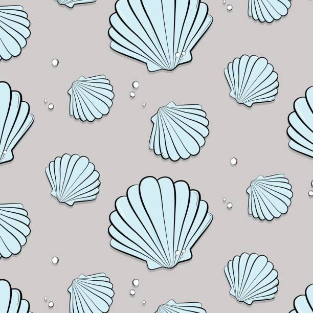vector tropical ocean print with shells. seashells with jewels pattern. tropical summer nature gem background. fashion vacation texture - animal shell stock illustrations, clip art, cartoons, & icons