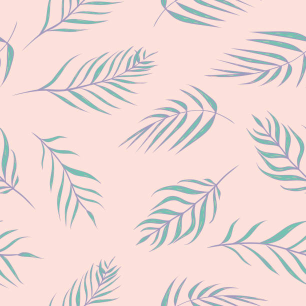 vector tropical palm leaves in pink and turquoise seamless pattern background. - jungle stock illustrations