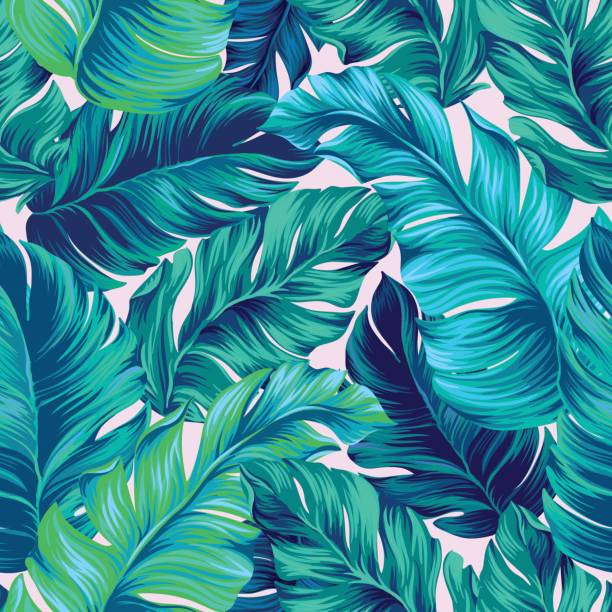vector tropical palm seamless pattern. amazing vintage style artistic palms pattern with seamless vector design. amazing palm trees layeres. Pattern for summer designs. tropical pattern stock illustrations