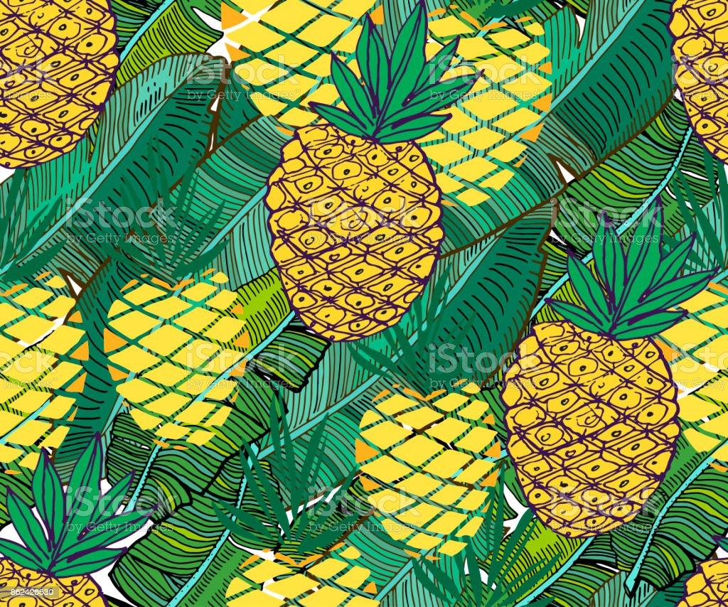 Ilustración de Modelo Tropical Vector Piñas Maduras Frescas Y ...