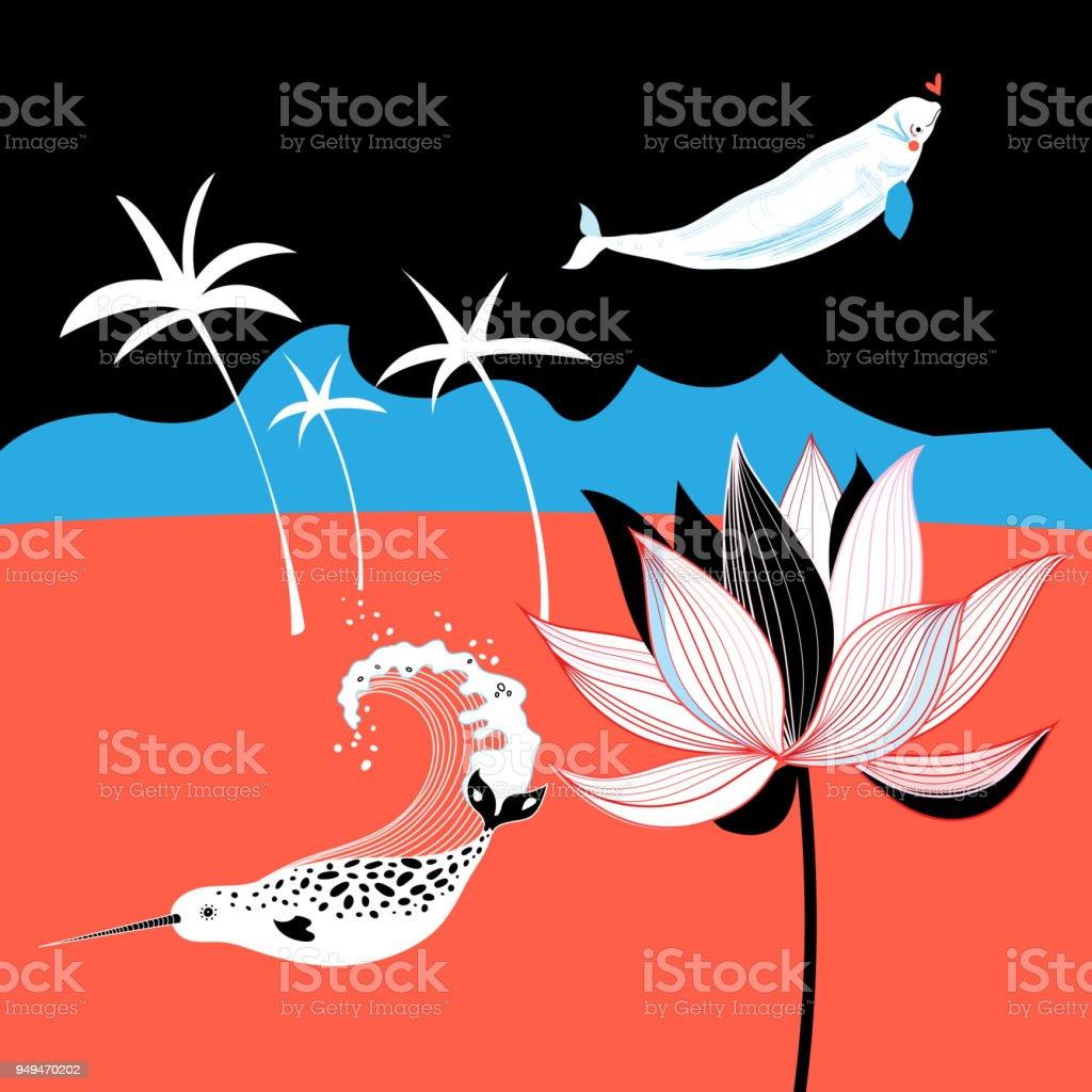 Vector tropical picture with palm trees and whales vector art illustration