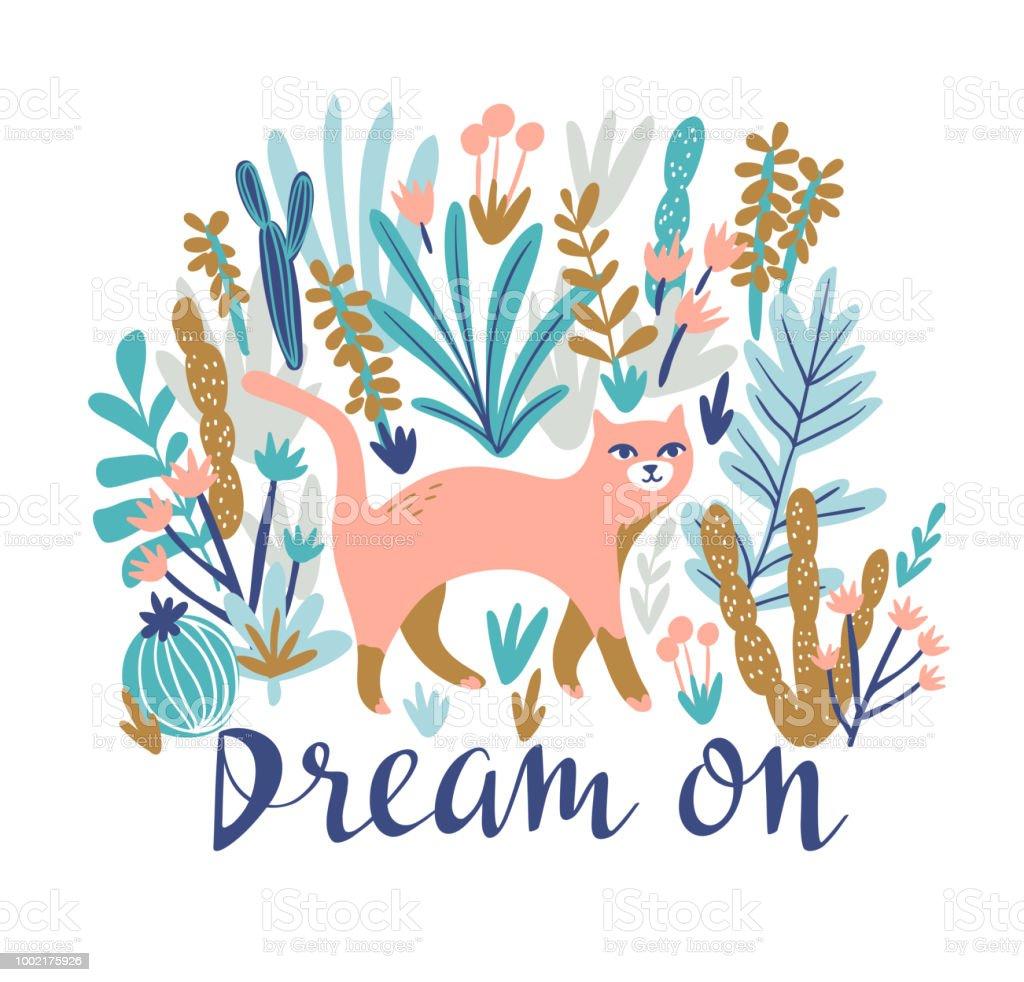 ベクトル熱帯砂漠の猫 t シャツを印刷。レタリング - 夢と自由奔放に生きるスタイルでトレンディな動物デザイン。 ベクターアートイラスト