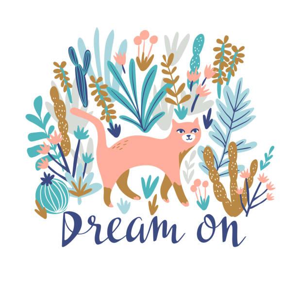 ベクトル熱帯砂漠の猫 t シャツを印刷。レタリング - 夢と自由奔放に生きるスタイルでトレンディな動物デザイン。 - 花のボーダー点のイラスト素材/クリップアート素材/マンガ素材/アイコン素材
