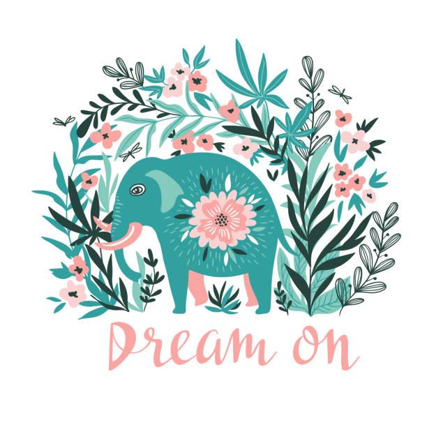 ベクトルの熱帯ジャングルの中で象を t シャツにプリント。レタリング - 夢と自由奔放に生きるスタイルでトレンディな動物デザイン。 - 花のボーダー点のイラスト素材/クリップアート素材/マンガ素材/アイコン素材