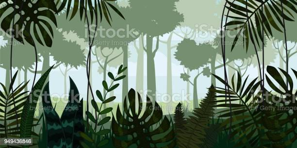 Vector Tropical Rainforest Jungle Landscape Background With Leaves Fern Isolated Illustrations — стоковая векторная графика и другие изображения на тему Абстрактный