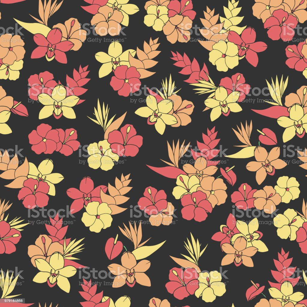 Vector tropical repeat pattern with orchid, hibiscus and bird of paradise flowers on the black background. Floral decoration. vector art illustration