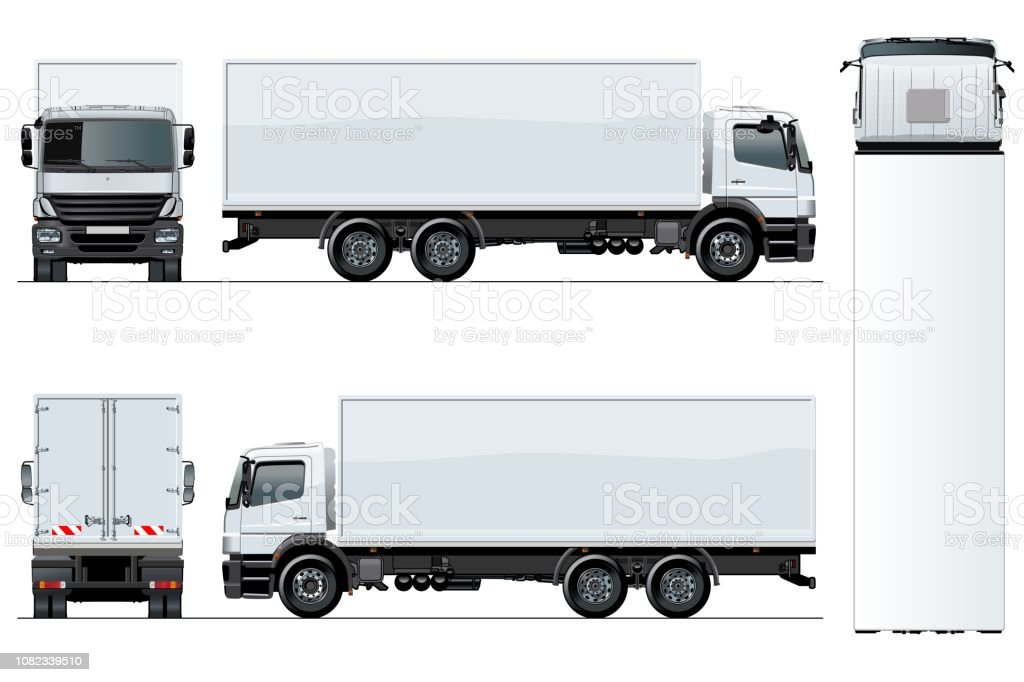 Vector truck template isolated on white background vector art illustration