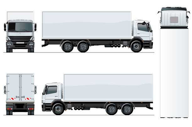 Vector truck template isolated on white background Vector truck template isolated on white for car branding and advertising. Available EPS-10 separated by groups and layers with transparency effects for one-click repaint. semi truck stock illustrations