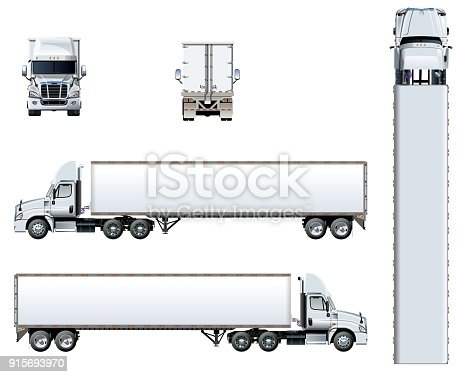 istock Vector truck template isolated on white 915693970