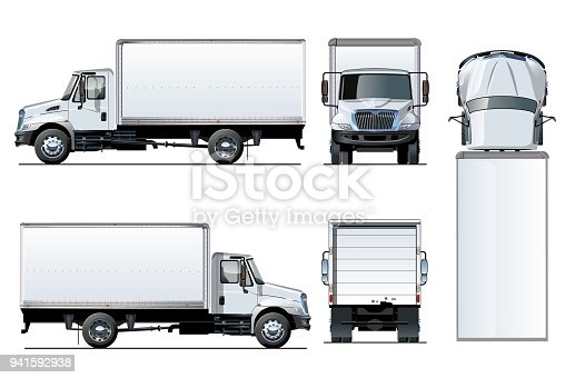 istock Vector truck template isolated on white 941592938