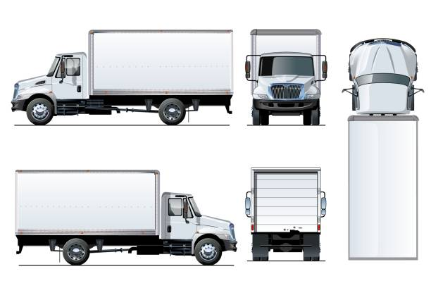 Vector truck template isolated on white Vector truck template isolated on white. Available EPS-10 separated by groups and layers with transparency effects for one-click repaint and clipping mask for branding back stock illustrations