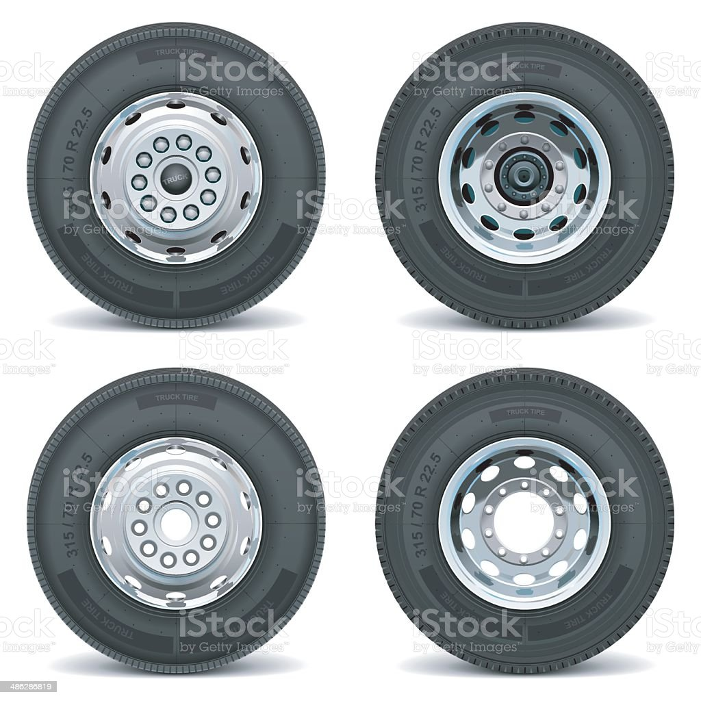 Vector truck tire icons vector art illustration