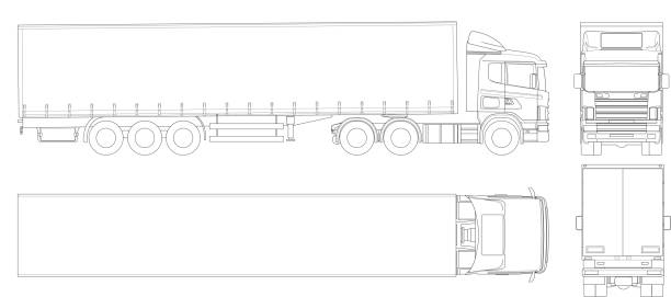 Vector truck trailer outline. Commercial vehicle. Cargo delivering vehicle. View from side, front, back, top. Vector truck trailer outline. Commercial vehicle. Cargo delivering vehicle. View from side, front, back, top. Vector illustration semi truck stock illustrations